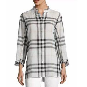 BURBERRY White SALLA Ruffle Collar Check Print 14